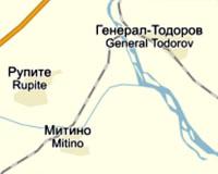 Фрагмент карты Болгарии, на котором показано болгарское село Митино в Благоевградской области